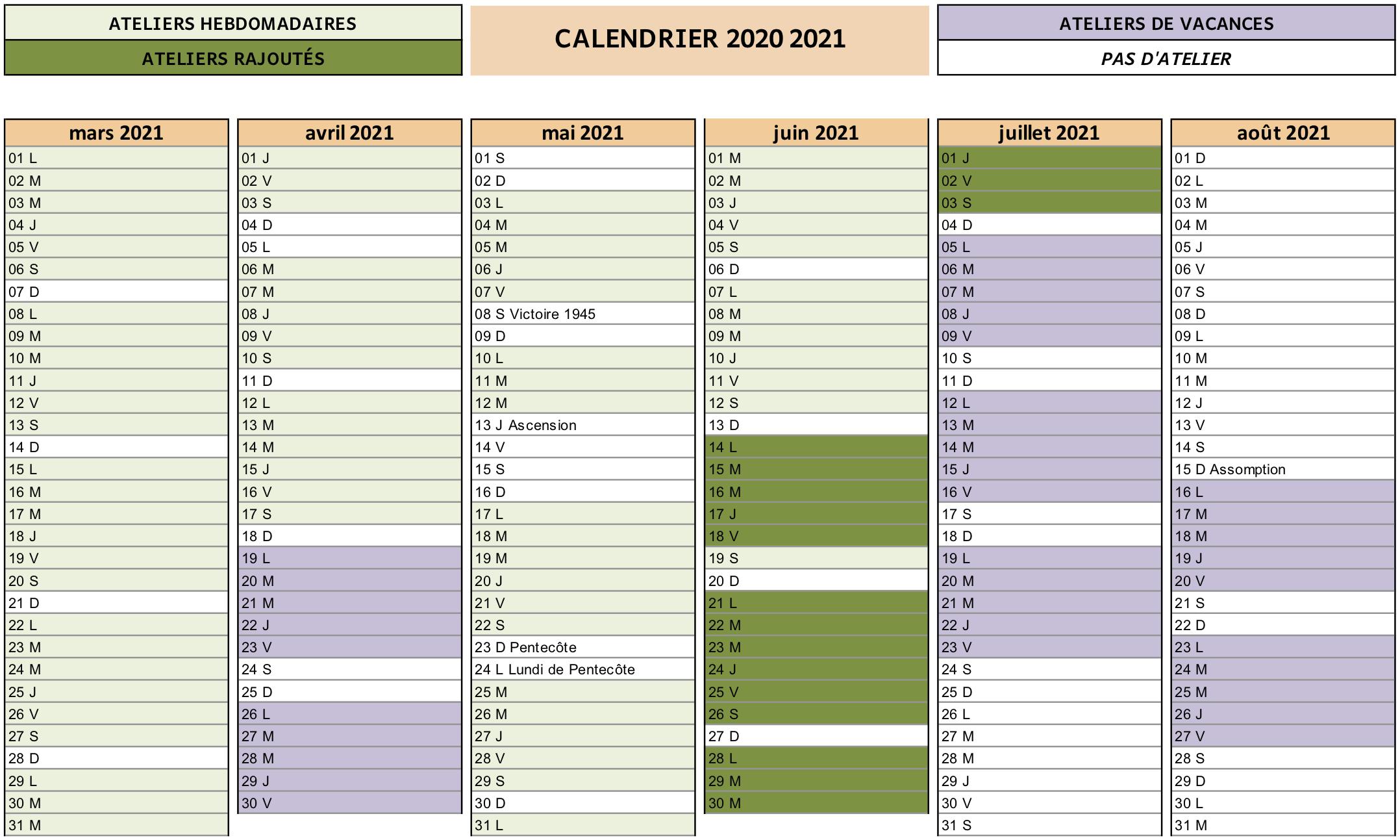 Calendrier Cdm 2021 CdM calendrier 2020 2021 s2   Cour des marguerites